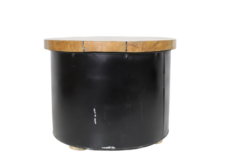 Salontafel Drum - black resin - teak/ijzer