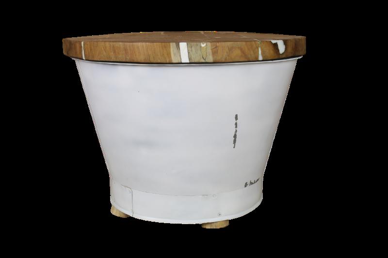 Salontafel Emmer - ø55 cm - white resin teak/ijzer