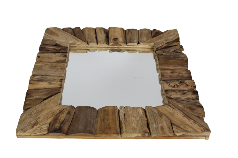 Framed wall mirror 60x60 cm natural teak mirrors & wall