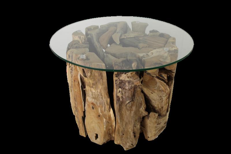 Couchtisch Rund Mit Glas Teak Root Teak Couchtische