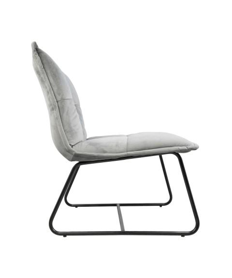Relaxstoel Estelle - velours - lichtgrijs