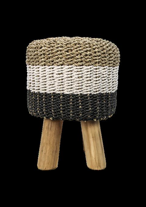 Sensational Stool Raffia Seagrass Natural White Black Small Creativecarmelina Interior Chair Design Creativecarmelinacom