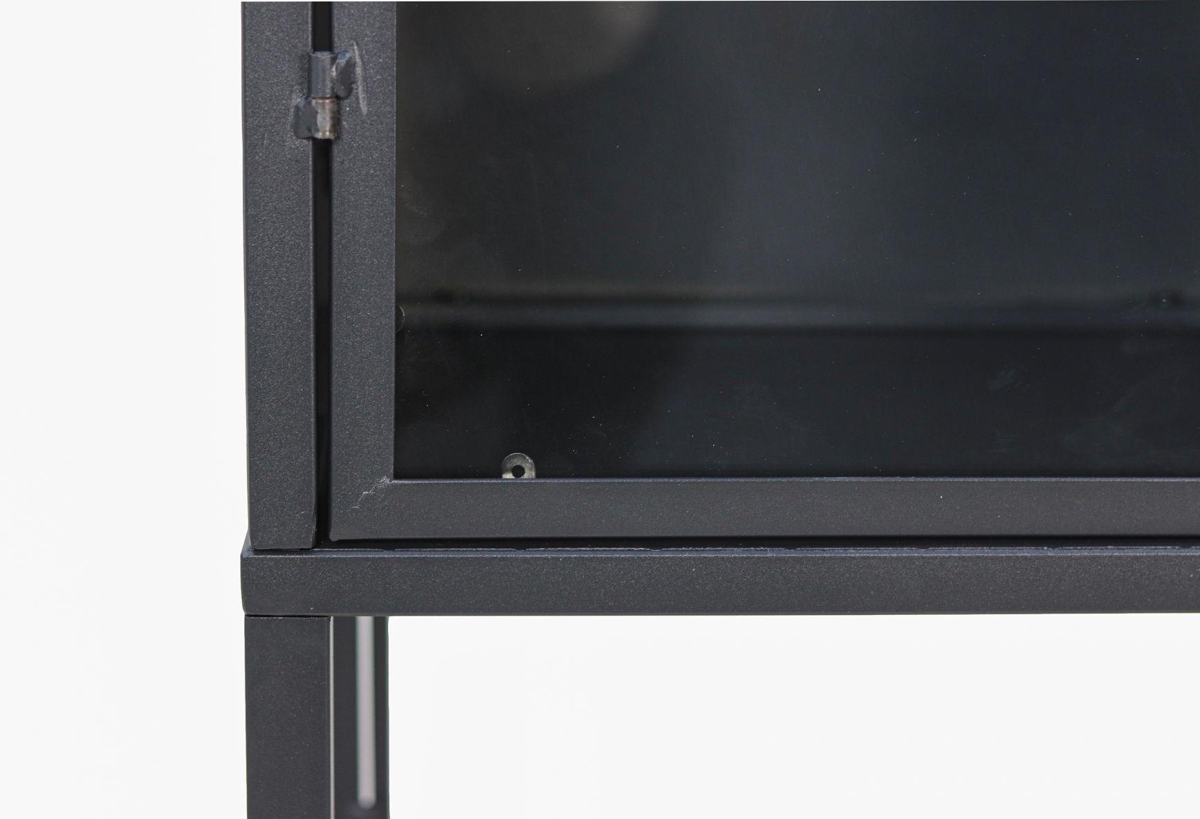 Vitrinekast - 40x32x150 - Donkergrijs - Metaal/glas