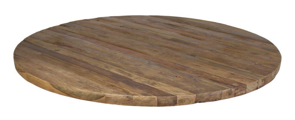 Tafelblad - rond - ø130 cm - blank erosie - teak