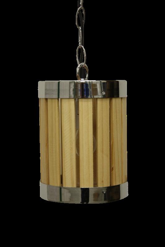Hanglamp - naturel/chroom