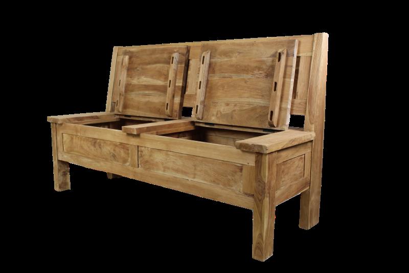 bank met opbergvak 120 cm blank teak stoelen banken henk schram meubelen. Black Bedroom Furniture Sets. Home Design Ideas