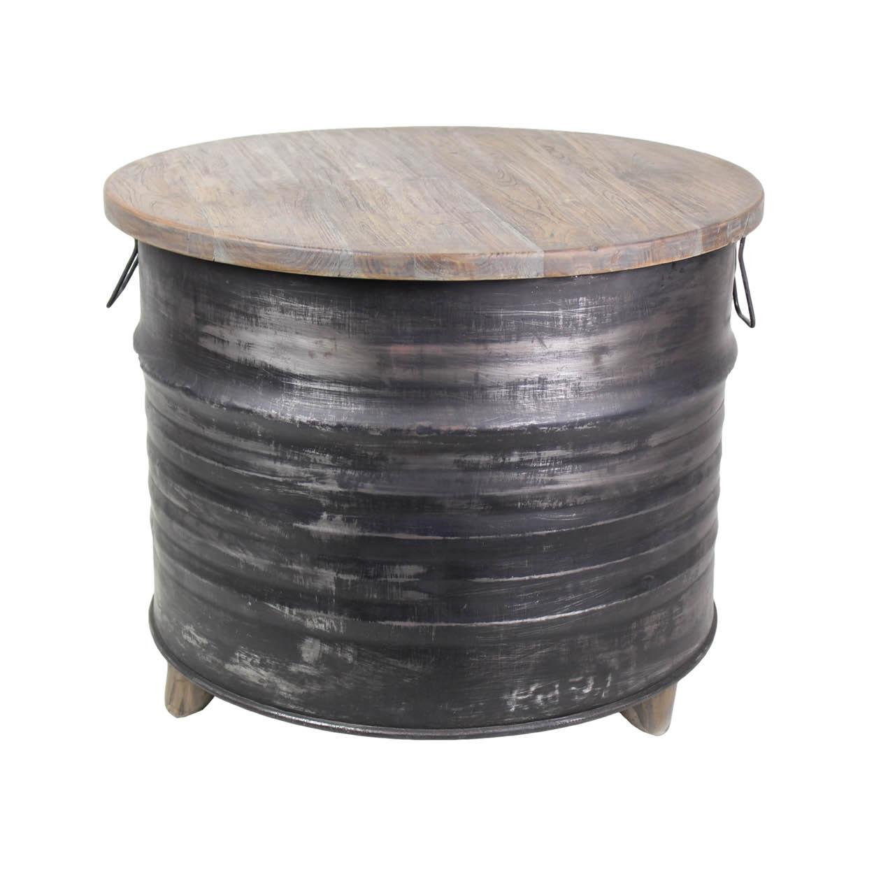 Grey Teak Coffee Table: Coffee Table Drum