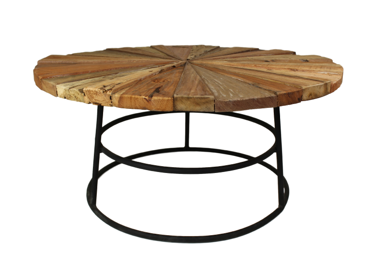 Coffee table sun with round leg 80 cm old teak for Coffee table 80cm x 80cm