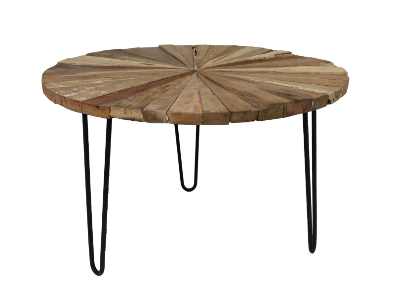 Coffee table sun with hairpin legs 80 cm old mix wood for Coffee table 80cm x 80cm