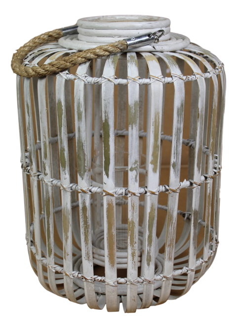 Lantaarn Capsule - medium - white wash - bamboe