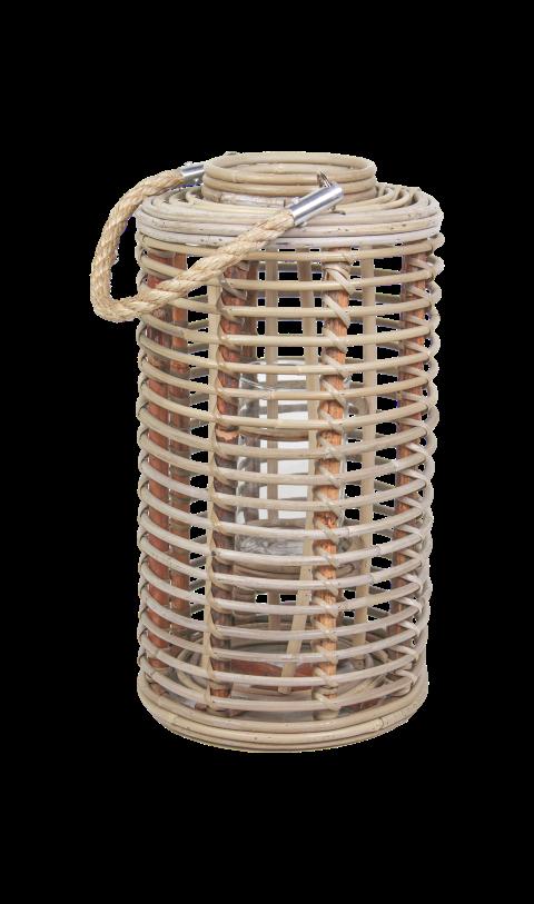 Lantaarn Cilinder - small - koboo grey - bamboe