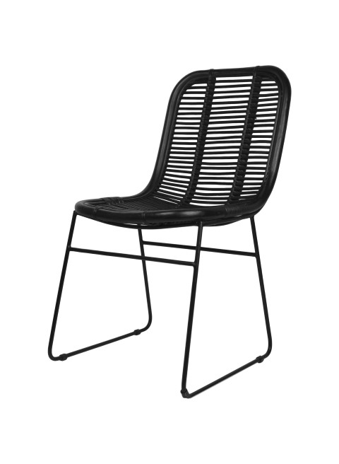 Dining Chair   Black   Rattan