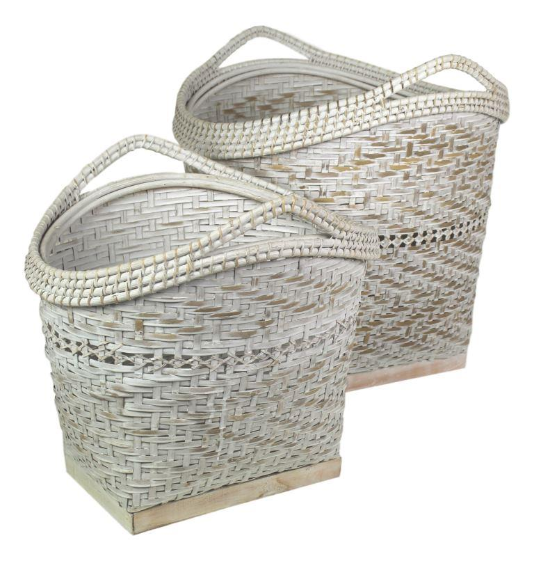 2 Piece Rustic Storage Basket Set   White Wash