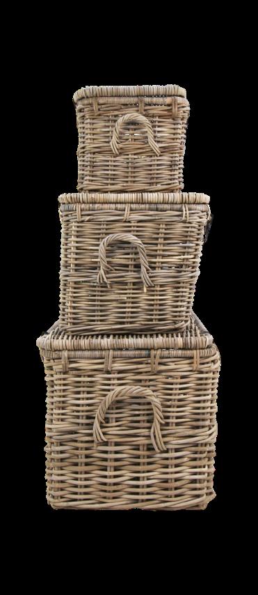 3 Piece Storage Basket Set Grey Wash Decoration Hides Henk Schram Meubelen