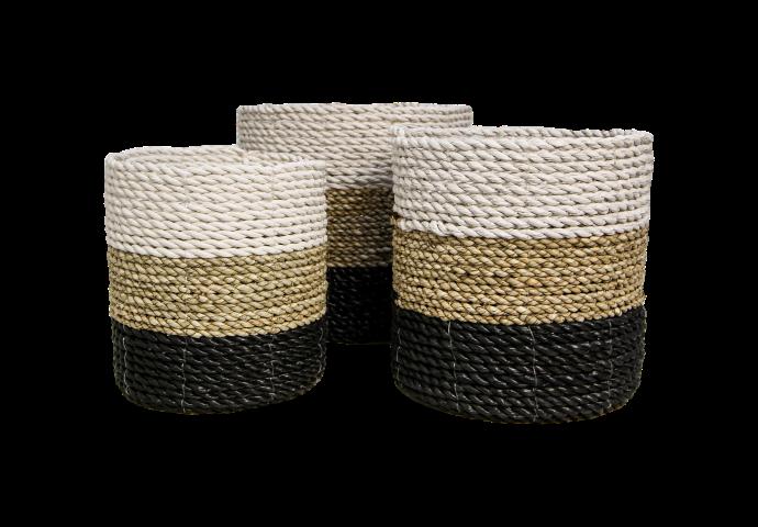 3 Piece Basket Set Raffia Seagrass White Natural Black Decoration Hides Henk Schram Meubelen