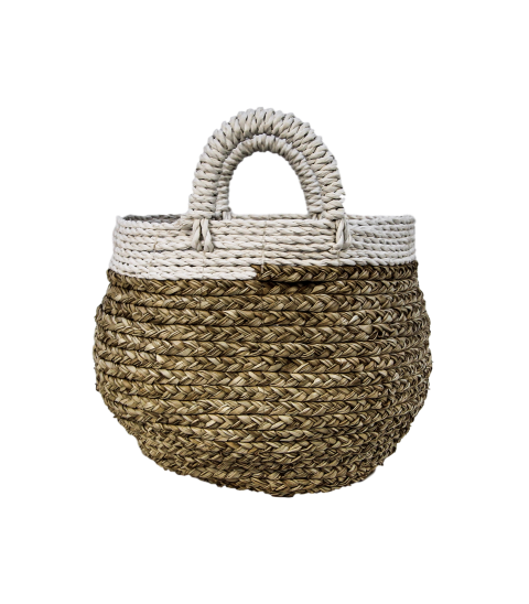 Mandenset - naturel/wit - raffia - S/2