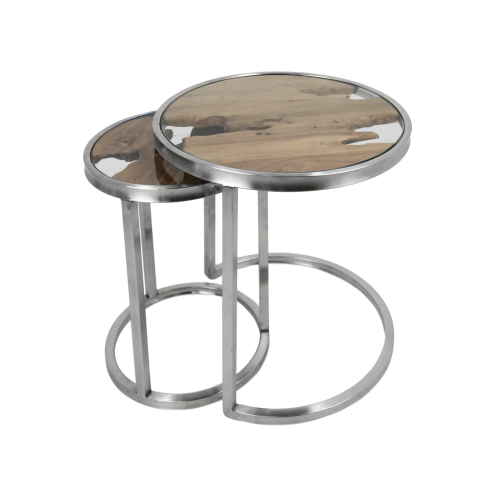 Sidetable Glas Rvs.2 Piece Side Table Set Vip Old Teak Stainless Steel Glass Coffee