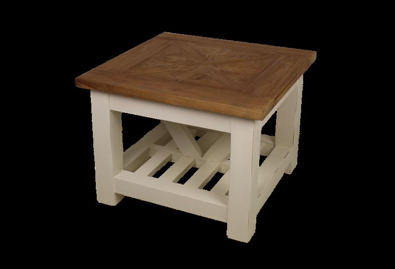 Two tone coffee table mosaic 80x80 cm teak white for Table 80x80