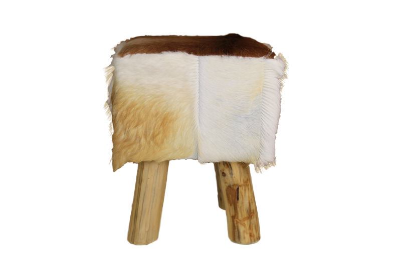 Natural Living Meubelen : Pouf square natural goatskin small furniture pieces & stools