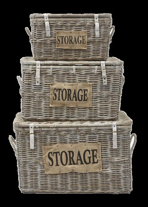 3 Piece Storage Basket Set Storage White Wash Rattan Decoration Hides Henk Schram Meubelen