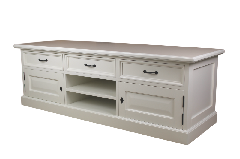 TV-dressoir - wit - mahonie