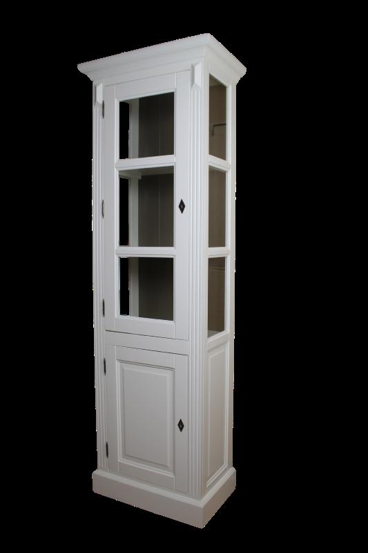 Vitrinekast - deur links - wit/taupe