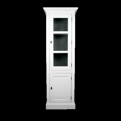 Vitrinekast - deur rechts - wit/donkergrijs