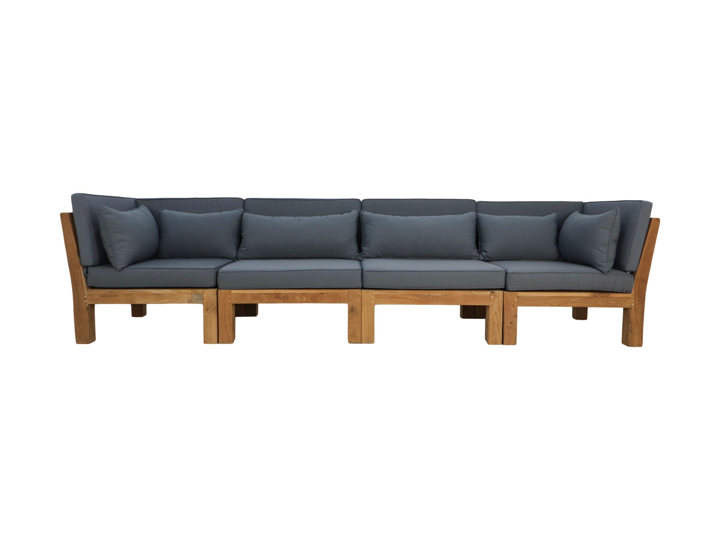Tuin 4-zits loungeset modulair Aruba (incl. kussens) - 4-delig - Hout - Bruin