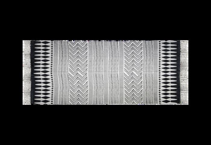 Vloerkleed - katoen - 180x70 cm - zwart/wit