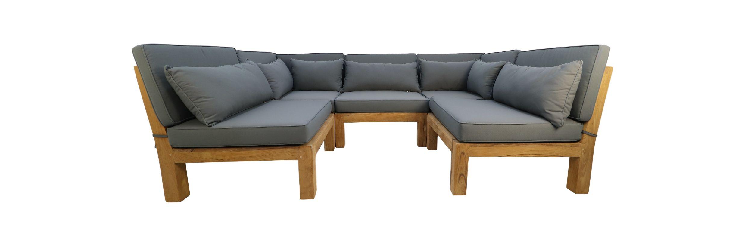 Lounge hoekmodule met kussens Aruba - teak - onbehandeld/dark grey