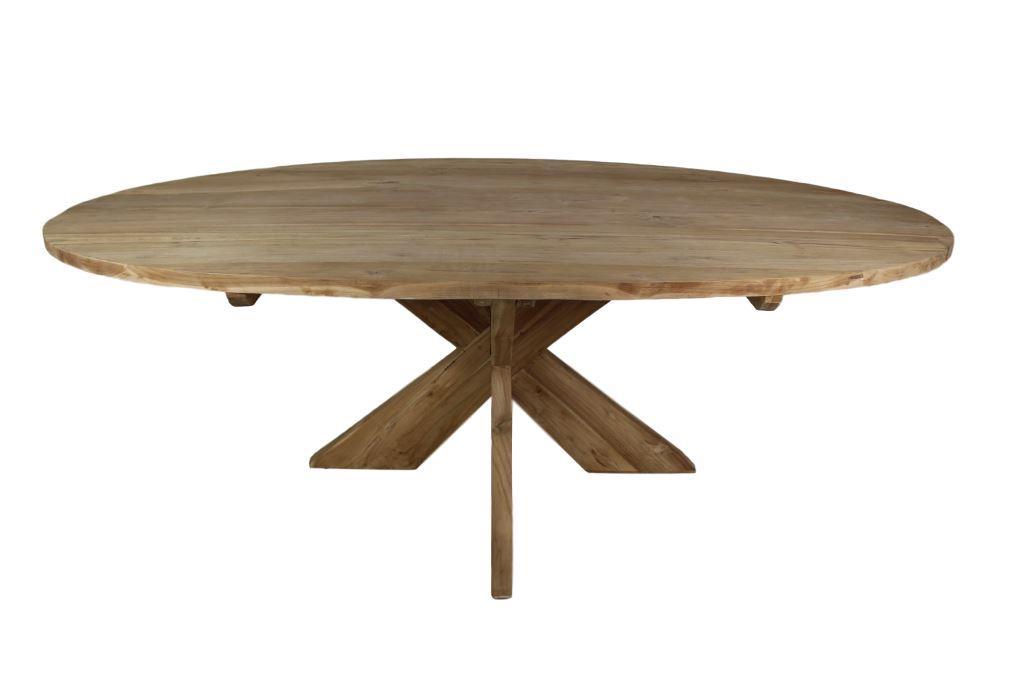 Ovale tafel met kruispoot 220x110 cm blank tafels for Ovale tafel