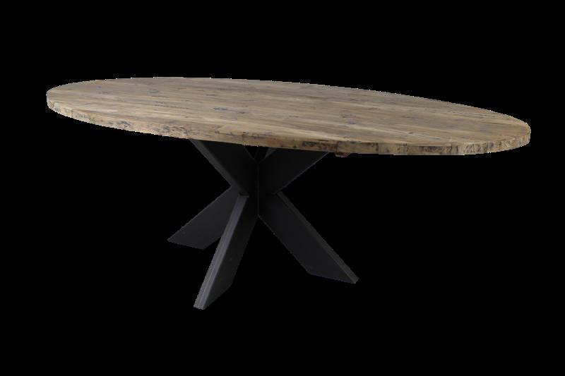Oval table top - 180x100 cm - new vintage - teak