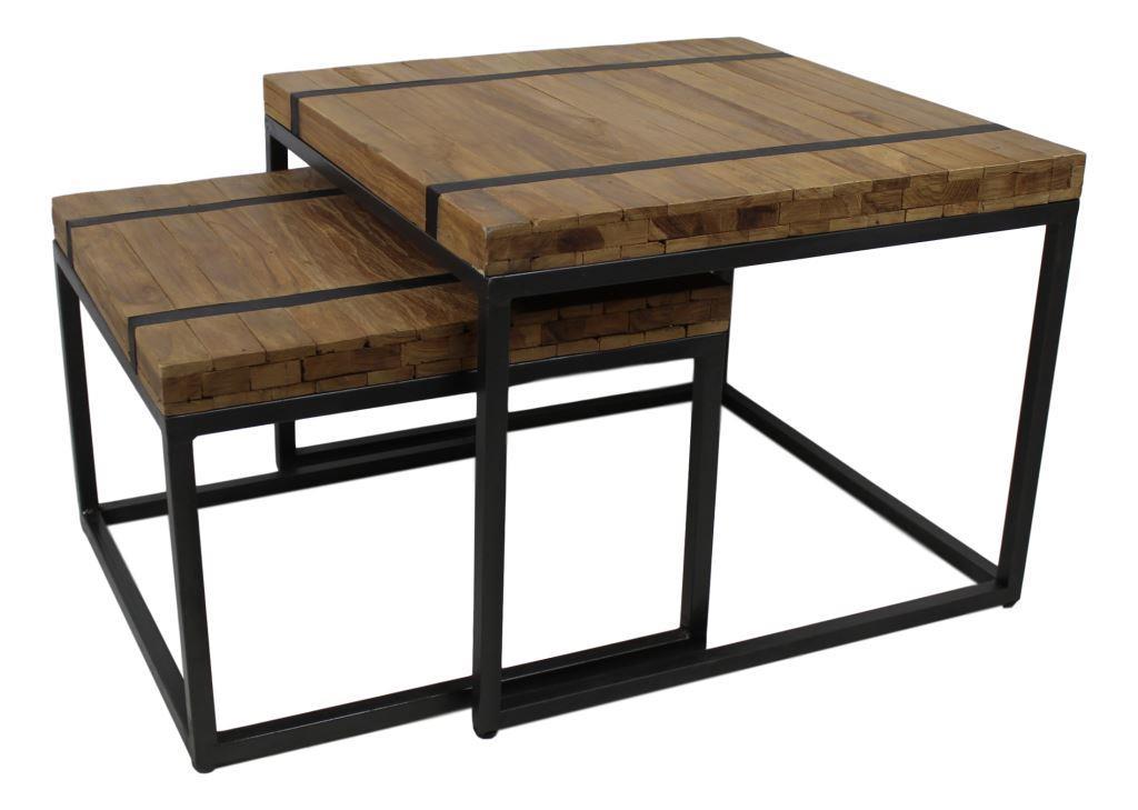 Coffee table bridge 60x60cm natural black for Table bridge