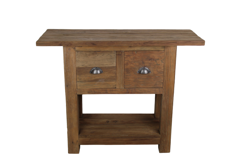 Console Table With 2 Drawers Reclaimed Teak