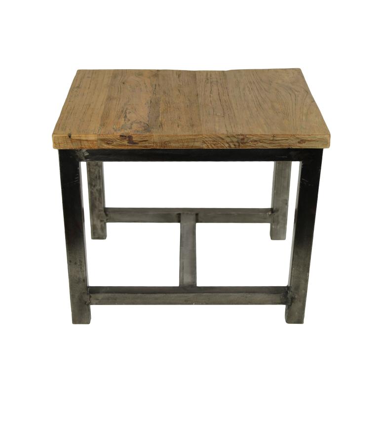 Coffee Table 60x60 Cm Reclaimed Teak Metal