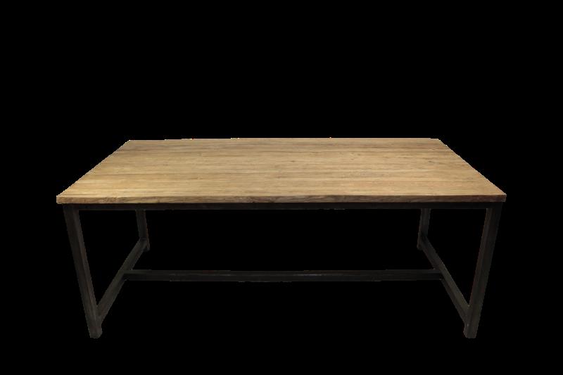 Eettafel - 180x90 cm - blank - teak/ijzer