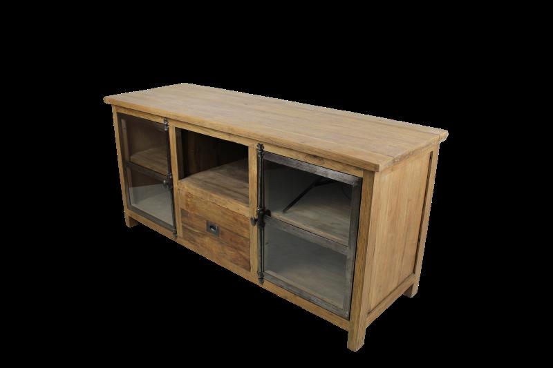 TV-dressoir - 150 cm - dingklik - metaal/teak