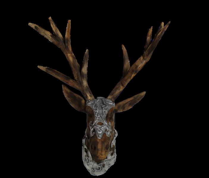 Hertenkop Kepala Rusa Duduk - naturel zilver - teak