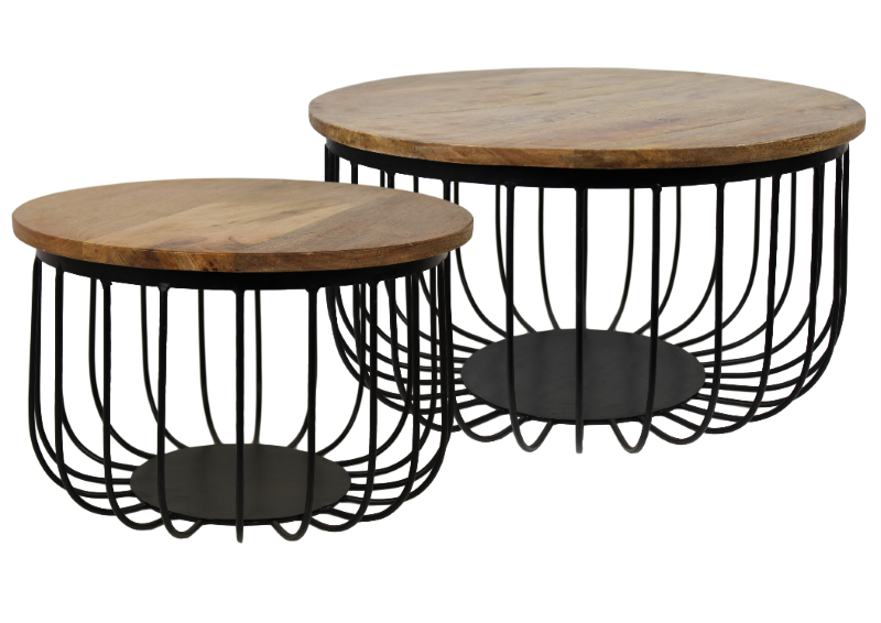 2 piece coffee table set maden mango wood iron for Iron coffee table set