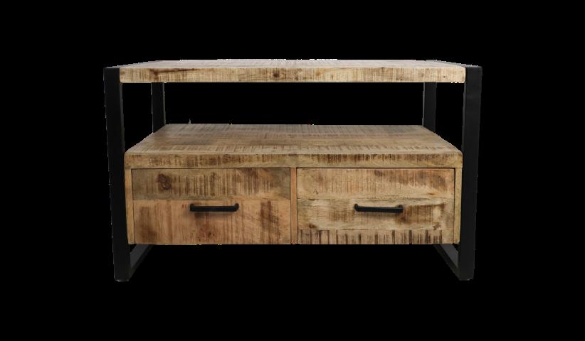 2 Drawers Mango Wood Iron