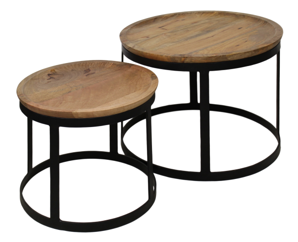 2 Piece Coffee Table Set Zen Naturalblack Coffee Side Tables