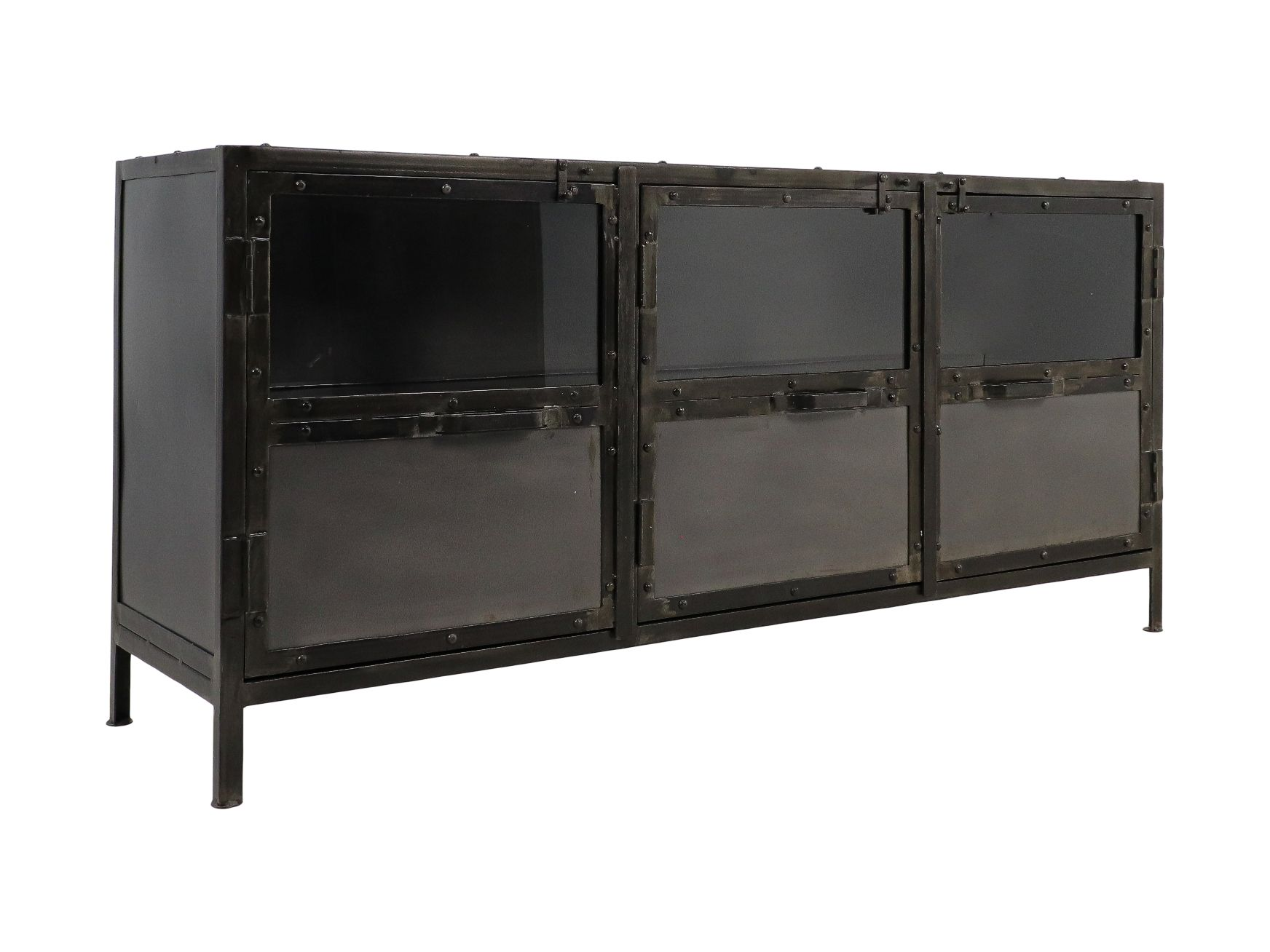 Dressoir Brooklyn - 150x40x70 - Natural Steel - Ijzer/glas