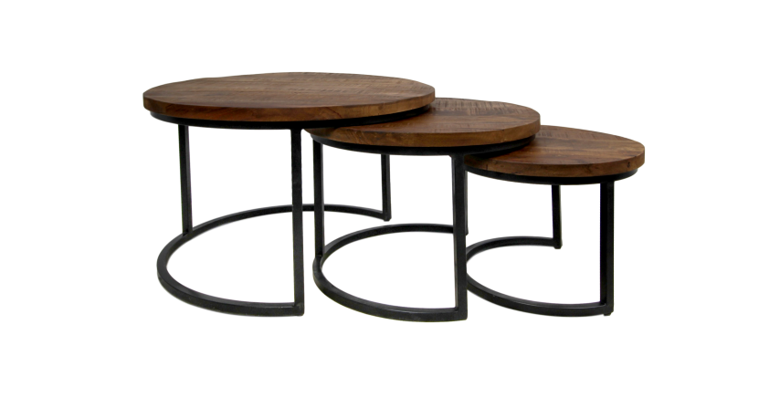 3 Piece Coffee Table Set District 70x70 Cm Mango Woodiron