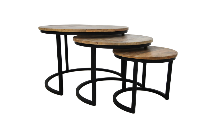 3 Piece Coffee Table Set District 70x70 Cm Mango Wood Iron Natural Coffee Side Tables Henk Schram Meubelen