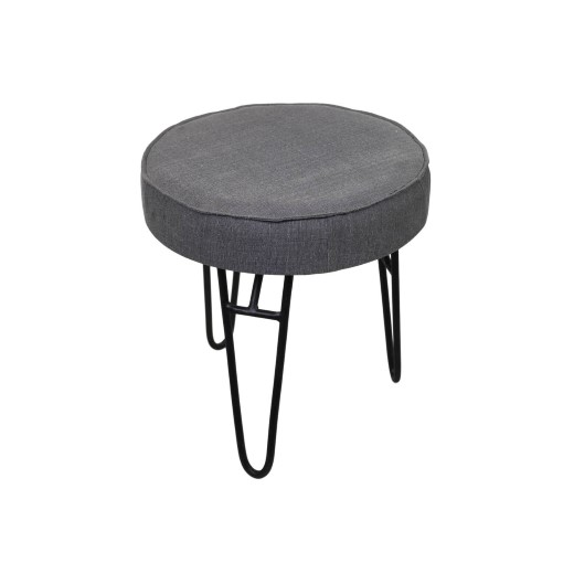 Pleasing Stool Canvas Iron Light Grey Small Furniture Pieces Creativecarmelina Interior Chair Design Creativecarmelinacom
