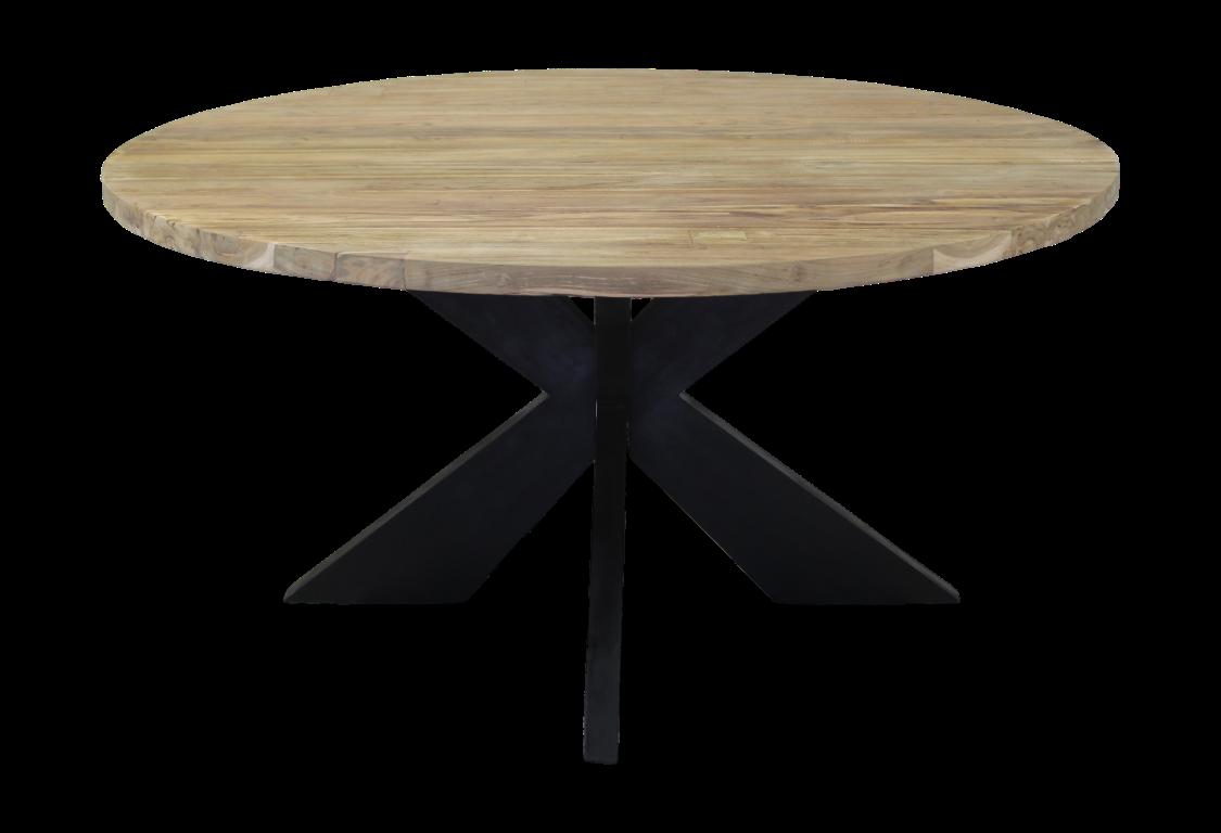 rund tisch iron side 130x130 cm natural schwarz tischen tischblatten henk schram meubelen. Black Bedroom Furniture Sets. Home Design Ideas