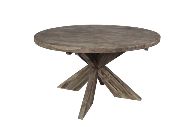 table cross round 130x130 cm old grey teak tables. Black Bedroom Furniture Sets. Home Design Ideas