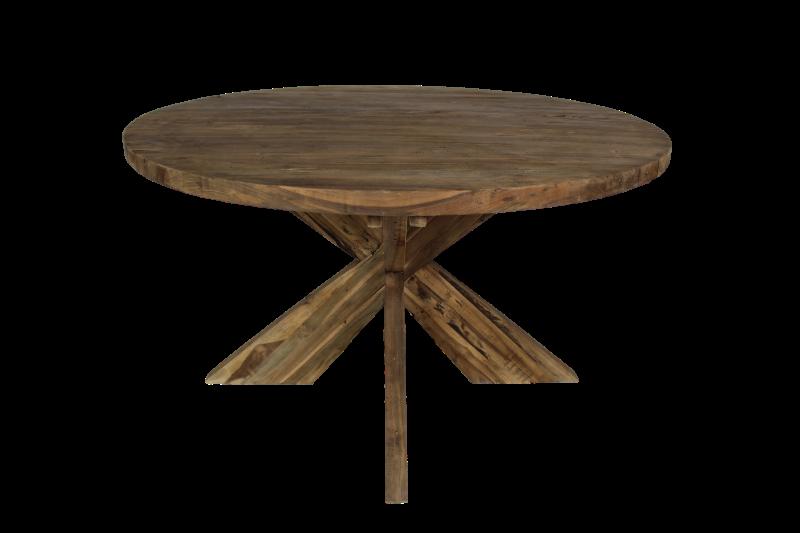 Ronde eettafel met kruispoot 150x150 cm vintage teak tafels