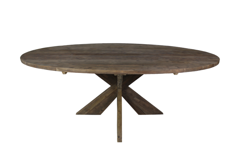 Teak Tafels Haarlem : Ovale eettafel met kruispoot cm oud grijs teak