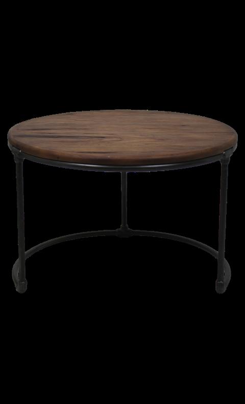 beistelltisch 70x70cm metall teak vintage schwarz couchtischen beistelltischen henk. Black Bedroom Furniture Sets. Home Design Ideas